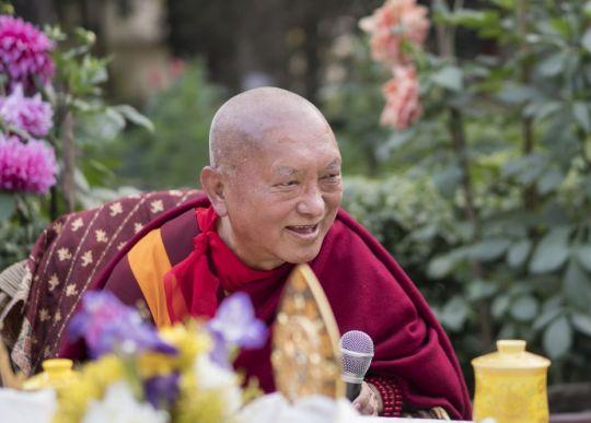 Lama Zopa Rinpoche during Root Institute's thirtieth anniversary celebration, Bodhgaya, India, January 2018. Photo by Ven. Lobsang Sherab.