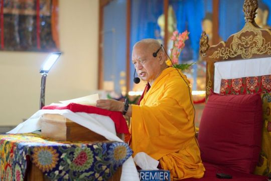 Lama Zopa Rinpoche offering Most Secret Hayagriva oral transmissions, Drati Khangtsen, Sera Je Monastery, Bylakuppe, India, November 2017.  Photo by Ven. Lobsang Sherab.