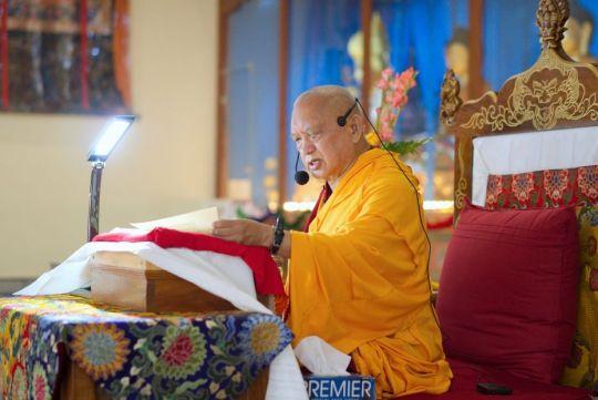 Lama Zopa Rinpoche offering Most Secret Hayagriva oral transmissions, Drati Khangtsen, Sera Je Monastery, Bylakuppe, India, November 2017.  Photo by Ven. Lobsang Sherab.