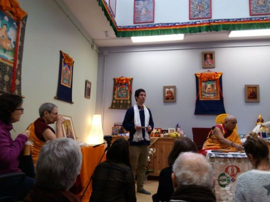 Geshe Lamsang, center director Koke Muro, and guests during the inauguration of Centro La Sabiduría de Nagarjuna's new center, Bilbao, Spain, February 2018. Photo by Centro La Sabiduría de Nagarjuna community.