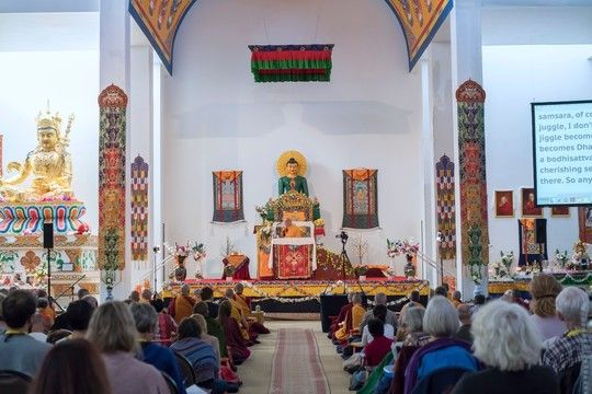 Lama Zopa Rinpoche teaching at The Great Stupa of Universal Compassion, Bendigo, Australia, April 2018. Photo by Ven. Lobsang Sherab.