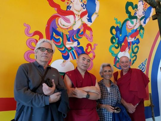 Peter Iseli, Ven. Lobsang Konchok, Jangchub Iseli, and Ven. Thubten Gyatso at The Great Stupa, Bendigo, Australia, February 2018. Photo courtesy of Ian Green's Twitter page.