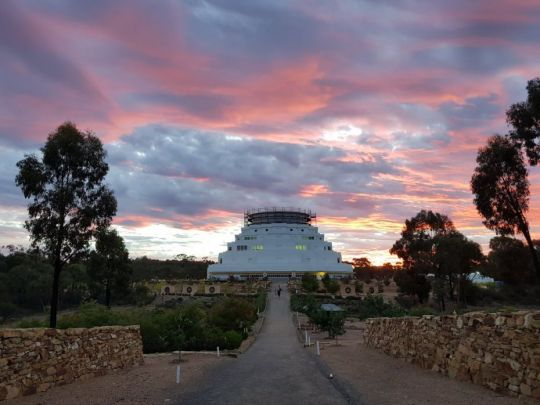 The Great Stupa of Universal Compassion at sunset following a teaching by Lama Zopa Rinpoche, Bendigo, Australia, March 2018. Photo courtesy of Ian Green's Twitter page.
