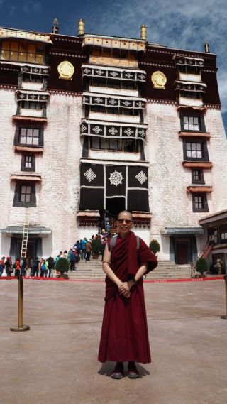 Ven. Tenzin Tsultrim at the inner courtyard of the Potala Palace in Lhasa, Tibet, June 2017. Photo courtesy of Ven. Tenzin Tsultrim.