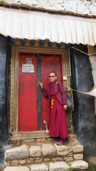Ven. Tenzin Tsultrim outside of Lama Tsongkhapa's retreat hermitage above Reting Monastery where he composed Lamrim Chenmo, Tibet, June 2017. Photo courtesy of Ven. Tenzin Tsultrim.