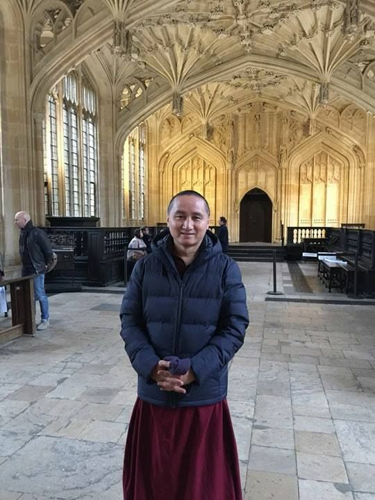 Geshe Tenzin Zopa at Oxford University, Oxford, UK, January 2018. Photo courtesy of FPMT Australia's Facebook page.