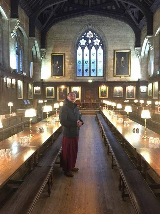Geshe Tenzin Zopa at Oxford University, Oxford, UK, January 2018. Photo courtesy of FPMT Australia's Facebook page.