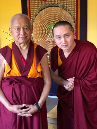 Geshe Tenzin Zopa with Lama Zopa Rinpoche, Bendigo, Australia, April 2018. Photo by Ven. Roger Kunsang.