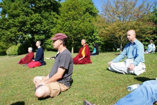 Retreat with Geshe Tashi Tsering, UK, 2011. Photo courtesy of Jamyang Centre Leeds' Facebook page.