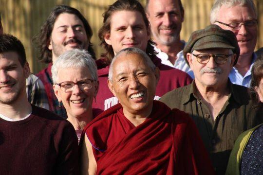 Geshe Tashi Tsering with students, UK. Photo courtesy of Jamyang Buddhist Center Leeds' Facebook page.