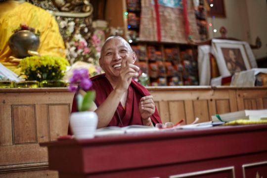 Geshe Tashi Tsering teaching at Jamyang Buddhist Center, UK. Photo courtesy of Jamyang Buddhist Centre's Facebook page.