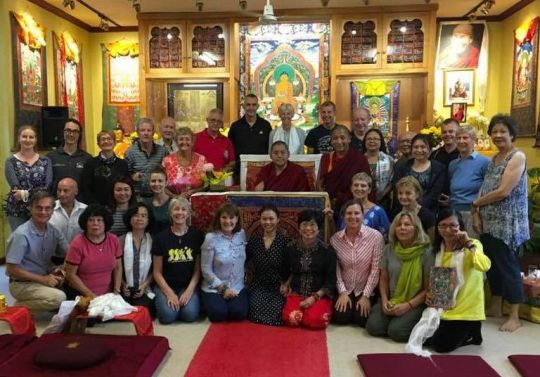 H.E. Ling Rinpoche with volunteers and organizers at Hayagriva Buddhist Center, Perth, Western Australia, March 2018. Photo courtesy of Ven. Tenzin Khentse.