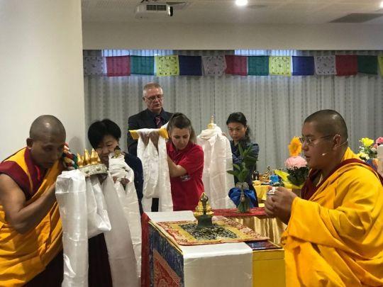 Geshe Ngawang Sonam, Oi Loon Lee, Jude Milan, Nora Daniels, and John Waite making a mandala offering to H.E. Ling Rinpoche at the Metro Hotel Perth, Perth, Western Australia, March 2018. Photo courtesy of Kirsti Kilbane.