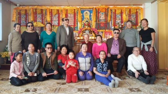 Short course participants from the Mongolian Blind People's Association with teacher Ven. Thubten Gyalmo and interpreter Khulan Dembereldorj, Ulaanbaatar, Mongolia, February 2018. Photo by Ianzhina Bartanova.