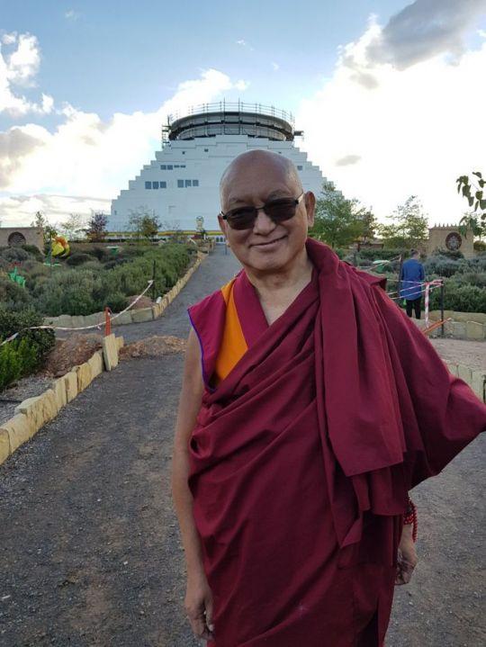 Lama Zopa Rinpoche outside of The Great Stupa visiting the Peace Park, Bendigo, Australia, May 2018. Photo courtesy of Ian Green's Twitter page.