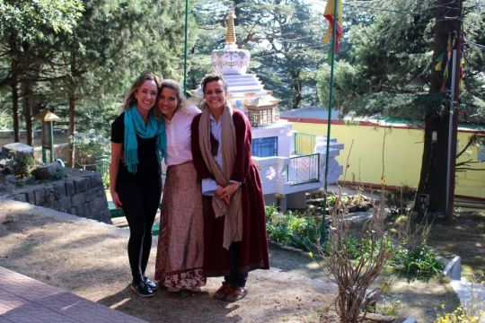 Introduction to Buddhism students in front of Lama Thubten Yeshe's stupa, Dharamsala, India, November 2017. Photo courtesy of Tushita Meditation Centre's Facebook page.