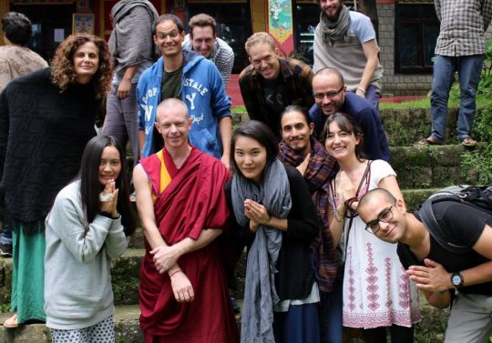 Geshe Tenzin Namdak and students at Tushita Meditation Centre, Dharamsala, India, July 2017. Photo courtesy of Paloma de Castro.