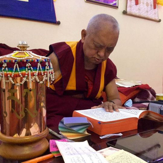 Lama Zopa Rinpoche reciting the Sutra of Golden Light for Anila Ann, a long-time student who was dying, Bodhgaya, India, February 2015. Photo by Ven. Sarah Thresher.