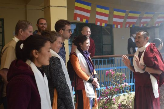 Geshe Tenzin Wangdak with LRZTP8 students, Dharamsala, India, March 2018. Photo courtesy of Lotsawa Rinchen Zangpo Translator Program's Facebook page.