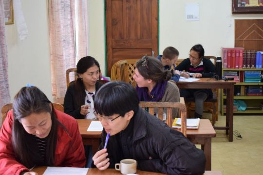 LRZTP8 students and conversation partners inside of a LRZTP classroom, Dharamsala, India, March 2018