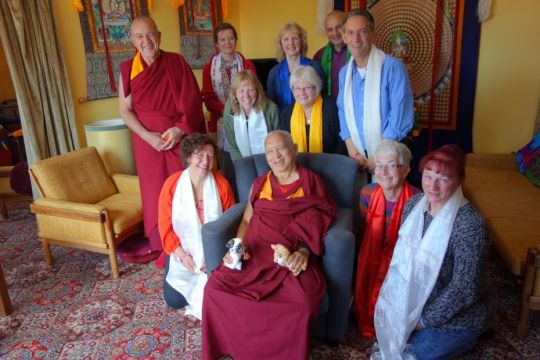Buddha House students with Lama Zopa Rinpoche The Great Stupa 2014 by Ven. Roger Kunsang