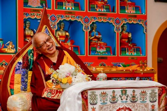 Lama Zopa Rinpoche sharing laughs with students at Buddha House May 20 2018 Carole Migalka