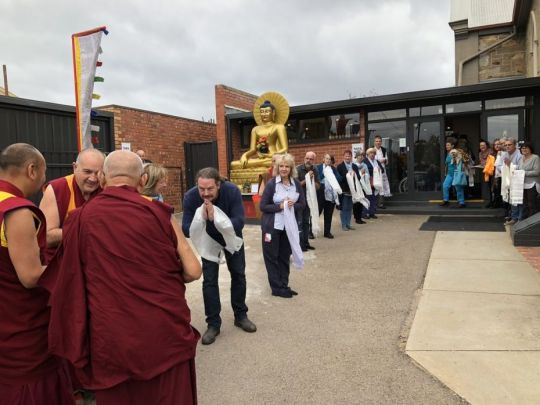Lama Zopa Rinpoche arriving at Buddha House May 17 2018 by Ven. Roger Kunsang