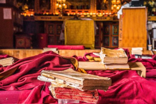 Practice books, Kopan Monastery, Nepal, March 2017. Photo by Ivan Siarbolin.