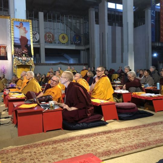 April 21 2018 nuns in gompa during the retreat Great Stupa Bendigo by Ven. Roger Kunsang