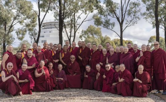 Lama Zopa Rinpoche with the Geshes and Sangha attending the retreat - May 11 2018 - Great Stupa Bendigo - by Ven. Lobsang Sherab