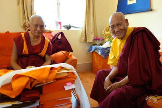 Lama Zopa Rinpoche with Lama Zopa Rinpoche with Ladakhi Lama Root Institute March 2014