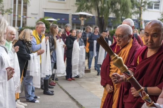 Lama Zopa Rinpoche arriving to teach, Hobart, Tasmania, Australia, May 2018. Photo by Ven. Lobsang Sherab.