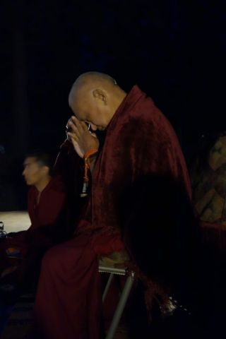 July 23 2014 - Lama Zopa Rinpoche -prayers at night in front of Amitabha statue by Ven. Roger Kunsang