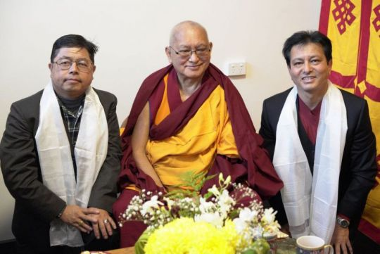Bahadur Gurung Chairman of the Himalayan Buddhists and translator Jogen have afternoon tea with Rinpoche