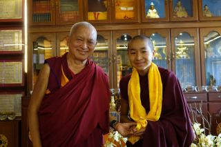 Lama Zopa Rinpoche with the reincarnation of Domo Geshe Rinpoche at Sera Je Monastery Dec 17 2015 by Ven. Roger Kunsang