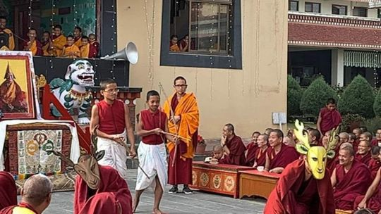 kopan-monastery-school-students-acting-in-the-play-for-lama-zopa-rinpoche-birthday-at-kopan-monastery-december-2018-photo-by-kopan-monastery-school