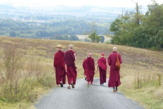 five-tibetan-buddhist-monks-walking-along-a-road-neaby-to-nalanda-monastery-in-france-breaking-the-boundaries-after-the-rains-retreat-october-2018-photo-by-nalanda-monastery
