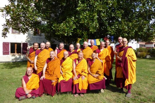 seventeen-tibetan-buddhist-monks-gathered-together-for-a-group-photo-at-the-conclusion-of-the-rains-retreat-at-nalanda-monastery-in-france-october-2018-photo-by-nalanda-monastery