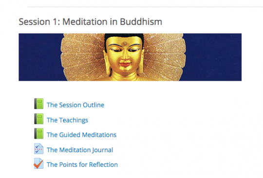 Buddhist Meditation 101 screenshot from the FPMT Online Learning Center
