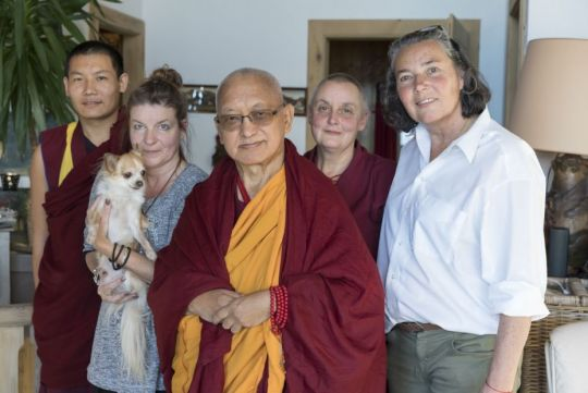ven-lhundup-tobgye-caro-with-her-dog-shiva-renamed-bodhichitta-by-rinpoche-lama-zopa-rinpoche-ven-anet-sophie-in-wallis-switzerland-november-2018-by-ven-lobsang-sherab