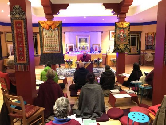 de-tong-ling-retreat-centre-ten-day-lamrim-retreat-students-with-teacher-ven-thubten-dondrub-inside-of-the-gompa-oct-2018-photo-by-retreatant