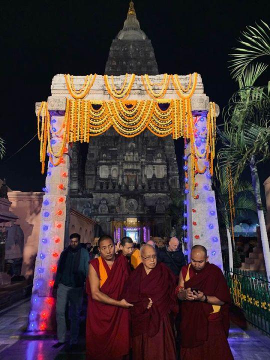Lama Zopa Rinpoche Mahabodhi Stupa 201901 photo Bill Kane