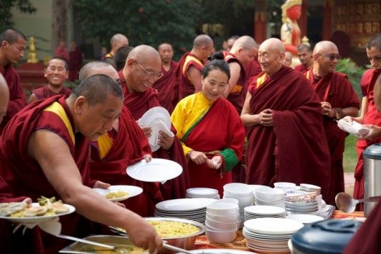 Lunch offered after puja Root Institute 2019 photo Bill Kane