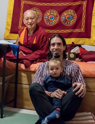 Rinpoche with Tenzin Osel and his son Norbu