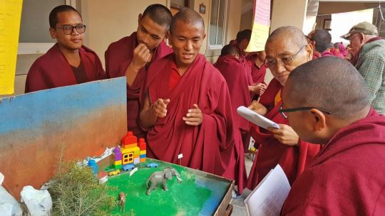 kopan-monastery-school-student-venerable-lobsang-yonten-and-khenrinpoche-geshe-thubten-chonyi-and-geshe-thubten-jinpa-school-science-fair-jan-13-2019-kathmandu-nepal-photo-kopan-monastery-school