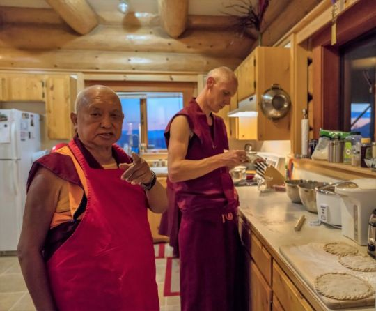 Lama Zopa Rinpoche cooking with Ven. Tharchin, Buddha Amitabha Pure Land, Washington, US, June 2018. Photo by Ven. Lobsang Sherab.