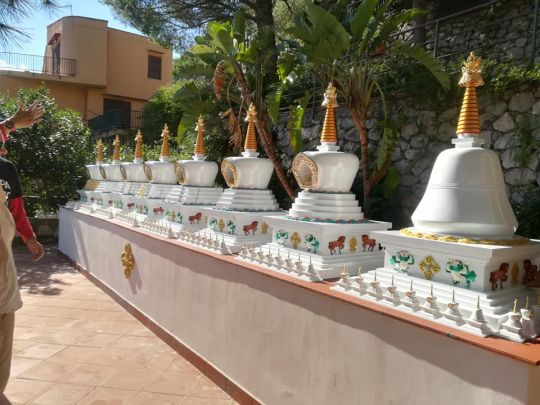 Please Rejoice! Eight Beautiful Stupas Find a Home at Centro Muni Gyana, Italy