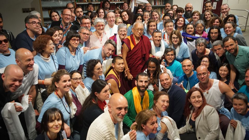 Lama Zopa Rinpoche Madrid with volunteers