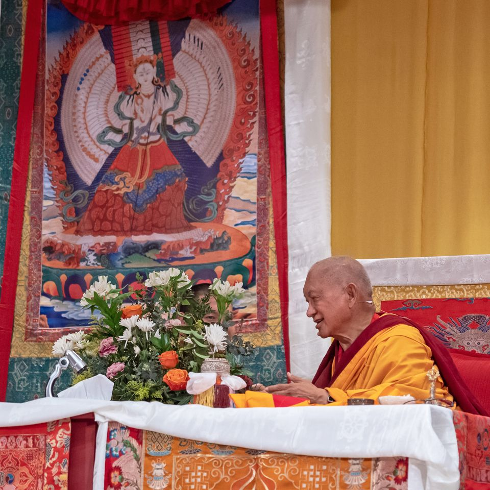 Lama Zopa Rinpoche teaching in Madrid April 2019