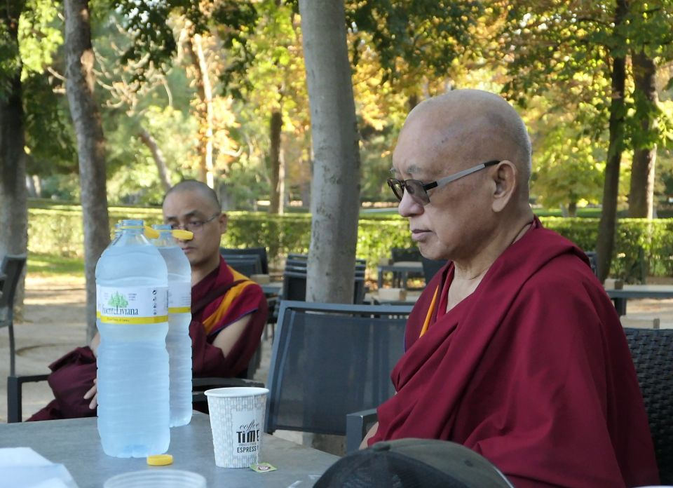 Lama Zopa Rinpoche blessing water Madrid 2018